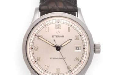 A Stainless Steel Automatic Calendar Centre Seconds Wristwatch, signed Eterna,...