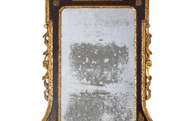 A VICTORIAN PARCEL GILT WALNUT MIRROR, C1870 IN GEORGE II ST...