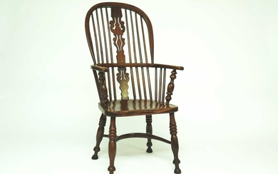 A Victorian yew and elm Windsor chair