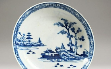 "A WORCESTER BLUE AND WHITE SAUCER ""The Cannonball"