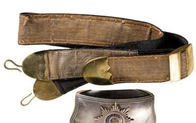 A cartridge box for officers of the horse guards, complete with gold-coloured shoulder strap, circa 1900
