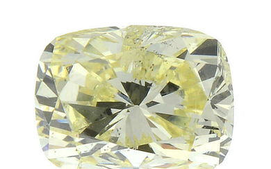 A cushion-shape natural 'fancy yellow' diamond, weighing 0.51ct, with GIA report.