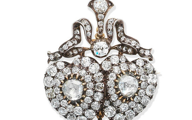 A diamond pendant/brooch, circa 1890