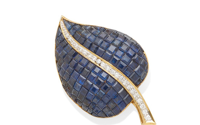 A gold, sapphire and diamond leaf brooch