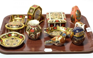 A group of Royal Crown Derby Imari pattern paperweights, dishes,...