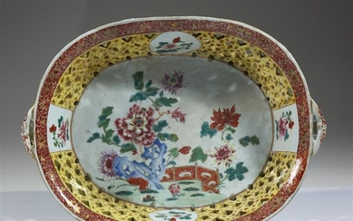A large Chinese export famille rose reticulated porcelain basket...