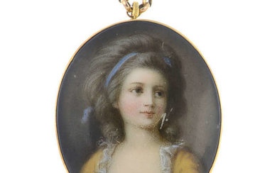 A late 19th century transfer printed portrait pendant, suspended from a chain.
