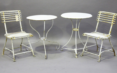 A pair of 20th century French white painted wrought iron garden chairs, height 79cm, width 41cm, tog