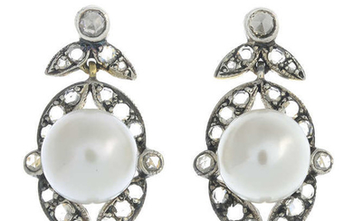 A pair of cultured pearl and rose-cut diamond earrings.