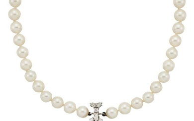A pink topaz, diamond and cultured pearl...