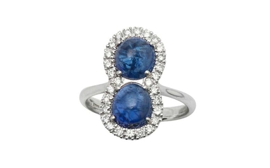 A sapphire and diamond double cluster ring