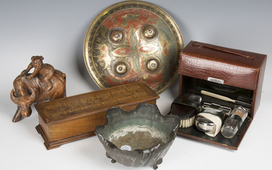 A selection of collectors' items, including an early 20th century leather cased vanity set, a C