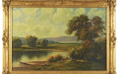A.D. GREER (AMERICAN, 1904-1998) LANDSCAPE WITH LAKE.