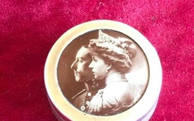 [ALFONSO XIII]: (1886-1941) King of Spain 1886-1931 & [VICTORIA EUGENIE OF BATTENBERG]: (1887-1969) Queen Consort of Spain 1906-31, wife of King Alfonso XIII. A solid silver antique pill box, with a 1.5'' diameter, most likely issued to commemorate the...