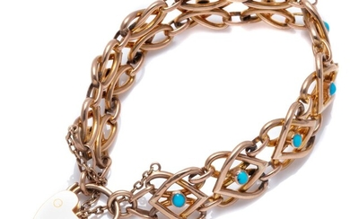 AN EDWARDIAN 9CT GOLD TURQUOISE LOVE PADLOCK BRACELET; 14.4mm wide hollow entwined love heart links each centring a cabochon turquoi...
