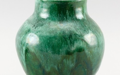 "ART POTTERY VASE Balustroid, with a heavy, variegated green glaze. Unidentified impressed mark. Height 7.25""."
