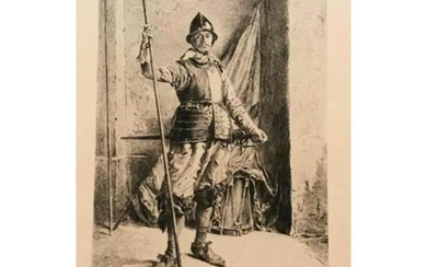 """After Meissonier, Toussaint Etching """"The Man At Arms"""""""