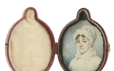 American School 19th century Portrait miniature of a lady...