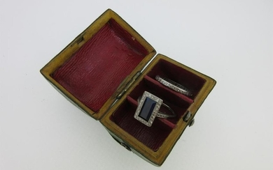 An Art Deco sapphire and diamond ring together with a