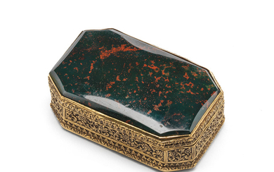 An Indian gold and bloodstone box