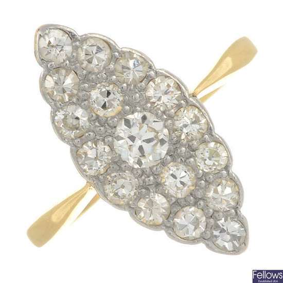 An early 20th century 18ct gold old-cut diamond cluster ring.