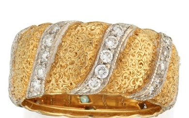 An eighteen karat gold and diamond band, Buccellati designed...