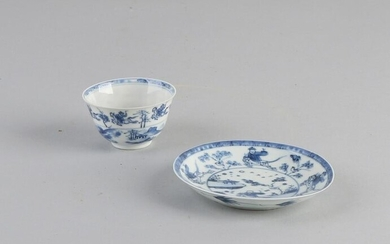 Antique Chinese Kang Xi porcelain cup and saucer with