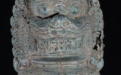 Antique Khmer Style Bronze Temple Guardians or Lion