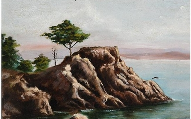 "Attributed to Frank Heath ""Monterey"" oil on masonite"