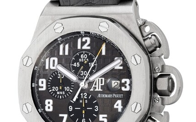 Audemars Piguet, Ref. 25863TI A fine, rare and large limited edition titanium chronograph wristwatch with date, guarantee and box, made in collaboration with Arnold Schwarzenegger for the film Terminator 3 - The Rise of the Machines