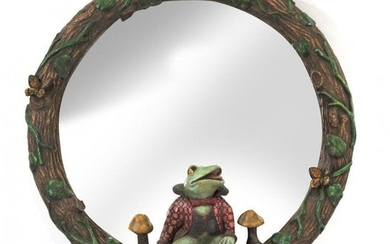 Bill Huebbe FROG ON A ROUND MIRROR Wall Hanging