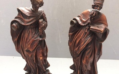 C17th French pair of carved saints