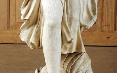 CARVED MARBLE GARDEN STATUE OF FEMALE ROMAN