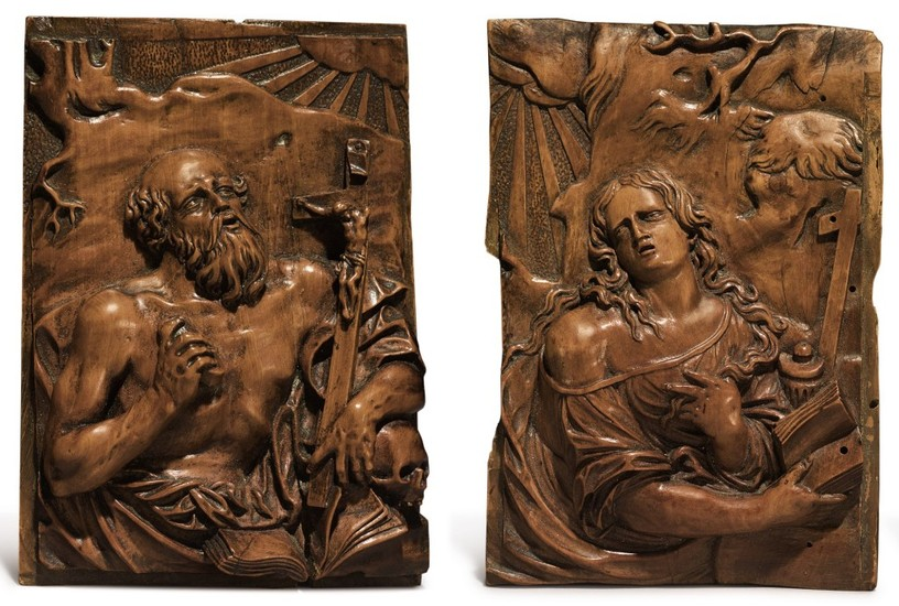 CIRCLE OF CHRISTOPH DANIEL SCHENK (CONSTANCE 1633 - 1691) GERMAN, LATE 17TH CENTURY | SAINT JEROME AND MARY MAGDALENE