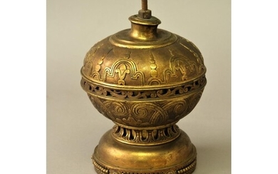 CONTINENTAL GILT METAL FINIAL possibly French, cast with sty...