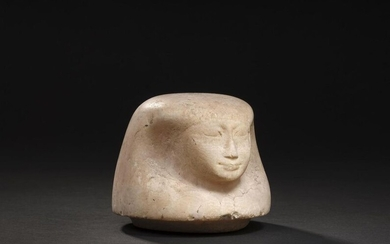 Canopic vase stopper depicting the head of the god Amset