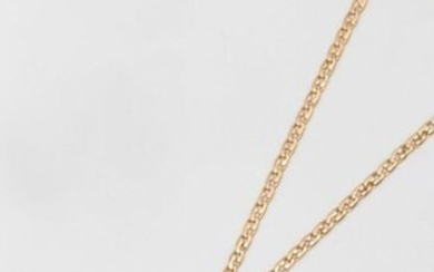 """Chain and pendant """"Cross"""" in openwork yellow gold and chiselled with flowers. Length : 44cm. Weight : 11,1g."""