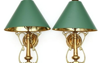 Chapman, Pair of Solid Brass Wall Sconces
