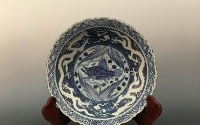 Chinese Blue-White 'Fish' Porcelain Plate