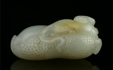 Chinese Hetian Jade Statue - Mouse and Peanut