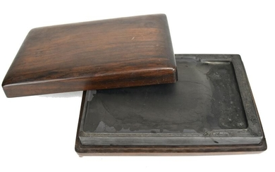 Chinese Inkstone with Old Rosewood Box, 19th Century