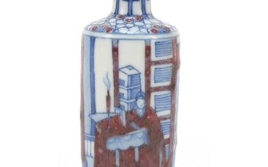 Chinese blue and white with iron red porcelain snuff bottle,...