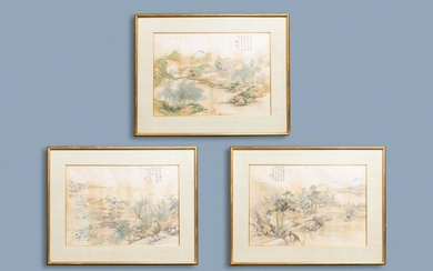 Chinese school, ink and colour on silk, 20th C.: 'Three landscape views'