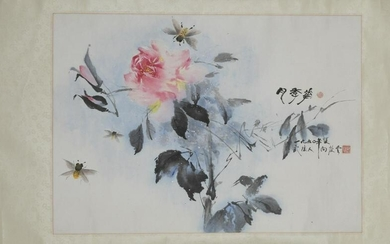 Chinese scroll of a rose, Xiang Qing Yun, 1990.