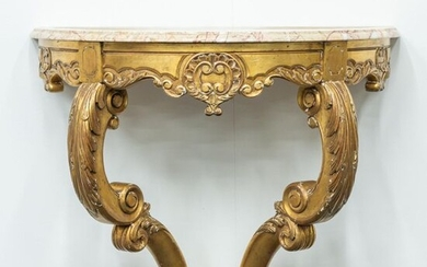 Console table, Louis XV style, made of sculptured gilt wood,...