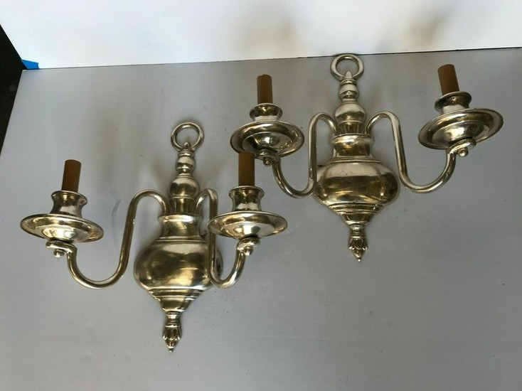 Deco / Modern nouveau silvered sconces pair wired