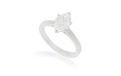 Description A DIAMOND SINGLE-STONE RING The marquise-shaped diamond weighing...