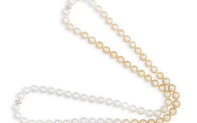 Description TWO CULTURED PEARL AND DIAMOND NECKLACES Each composed...