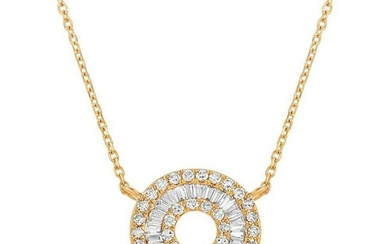 Diamond Baguette Necklace In 18K Yellow Gold