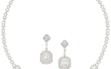 Diamond, White Gold Jewelry Suite The suite includes a...